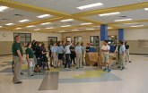 Kendra Peek/kendra.peek@amnews.com Students see the cafeteria in the new wing of the Toliver Elementary School, soon to be the Toliver Intermediate School, for the first time. After spring break next week, students will move into the new section.