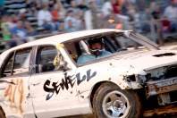 Doug Sewell, Shawn McCollum and Justin Gaffney competed in the big car class of the demolition derby at the Boyle County Fair Wednesday night. Sewell won the competition; McCollum came in second; and Gaffney placed third.