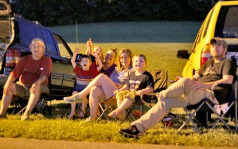Todd Pendygraft, far left, and his wife, Ramona, fourth from left, watch with their daughter Bethany Becraft, second from right, and their grandchildren, from left, Andrew, 6; Charlotte, 8; and Argus, 3. Off-camera to the right is Bethany's husband, Harley Becraft.
