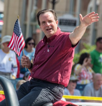 Kentucky State Auditor and former state representative representing Boyle County Mike Harmon participates in the parade.