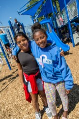 Ben Kleppinger/ben.kleppinger@amnews.com Allisson Reyes-Martinez, left, and Shanekia Pirtle smile as they play together on the playground.