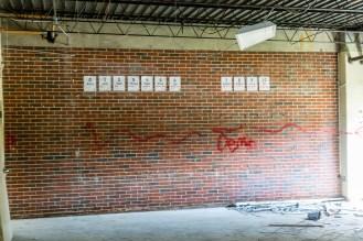 Ben Kleppinger/ben.kleppinger@amnews.com Leftover counting charts still hang on one wall scheduled for demolition inside the school.