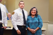 Bobbie Curd/bobbie.curd@amnews.com Lt. Will Ellis, with the Danville Fire Department, received a big round applause for introducing his mom, Nellie Ellis. Ellis, Matt Groves and David Spanyer were all promoted to rank of lieutenant in a pinning ceremony Monday night at the Danville City Commission meeting.