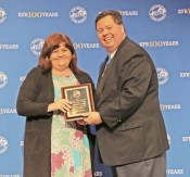 Photos contributed Mercer County Farm Bureau received first place in the 2018 Kentucky Farm Bureau County Information Awards competition at the organization's annual meeting in Louisville. Beth Kelly, Information Chair of Mercer County Farm Bureau, received the award from B. Todd Bright, KFBF Communication Division Director.