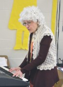 Photo by Robin Hart Hogsett Primary School music teacher Heather Gover wears a gray wig and shawl in recognition of the first 100 days of school at Hogset Primary School.