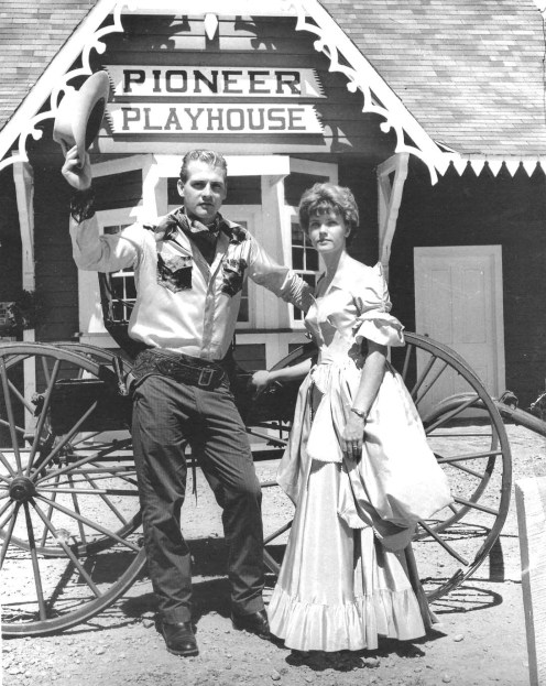 Harvey Lee Yeary enrolled as an intern for the 1962 summer at Pioneer Playhouse, after which he headed for Hollywood, changed his name to Lee Majors and became a star. Picture here in front of the box office with his first wife, Kathy in his very first publicity photo.(Photo contributed)