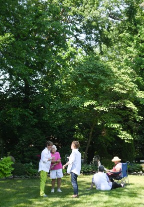 People tour various gardens during the garden tour in Danville on Saturday. (Photos by John Scarpa.)