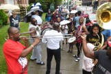Storyville Stompers and Stooges Brass Band play during the parasol parade on Main St. in Danville during the Great American Brass Band Festival on June 7th, 2019. (John Scarpa/Advocate-Messenger)