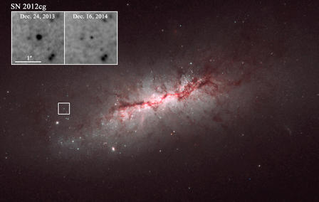 Galaxy NGC 4424, and close-ups of the type Ia supernova the research team observed. The difference in the brightness of the supernova is shown about a year apart in the inset close-up.