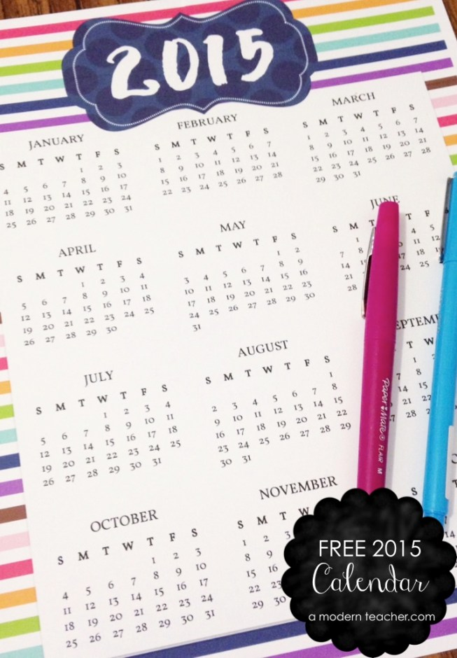 Free 2015 Calendar www.amodernteacher.com