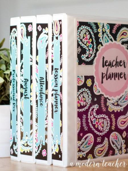 a modern teacher planner pink paisley