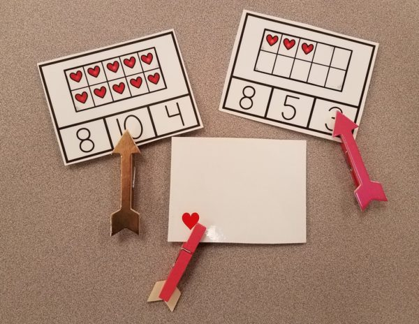 Valentine's Day Clip Cards and Sensory Bin