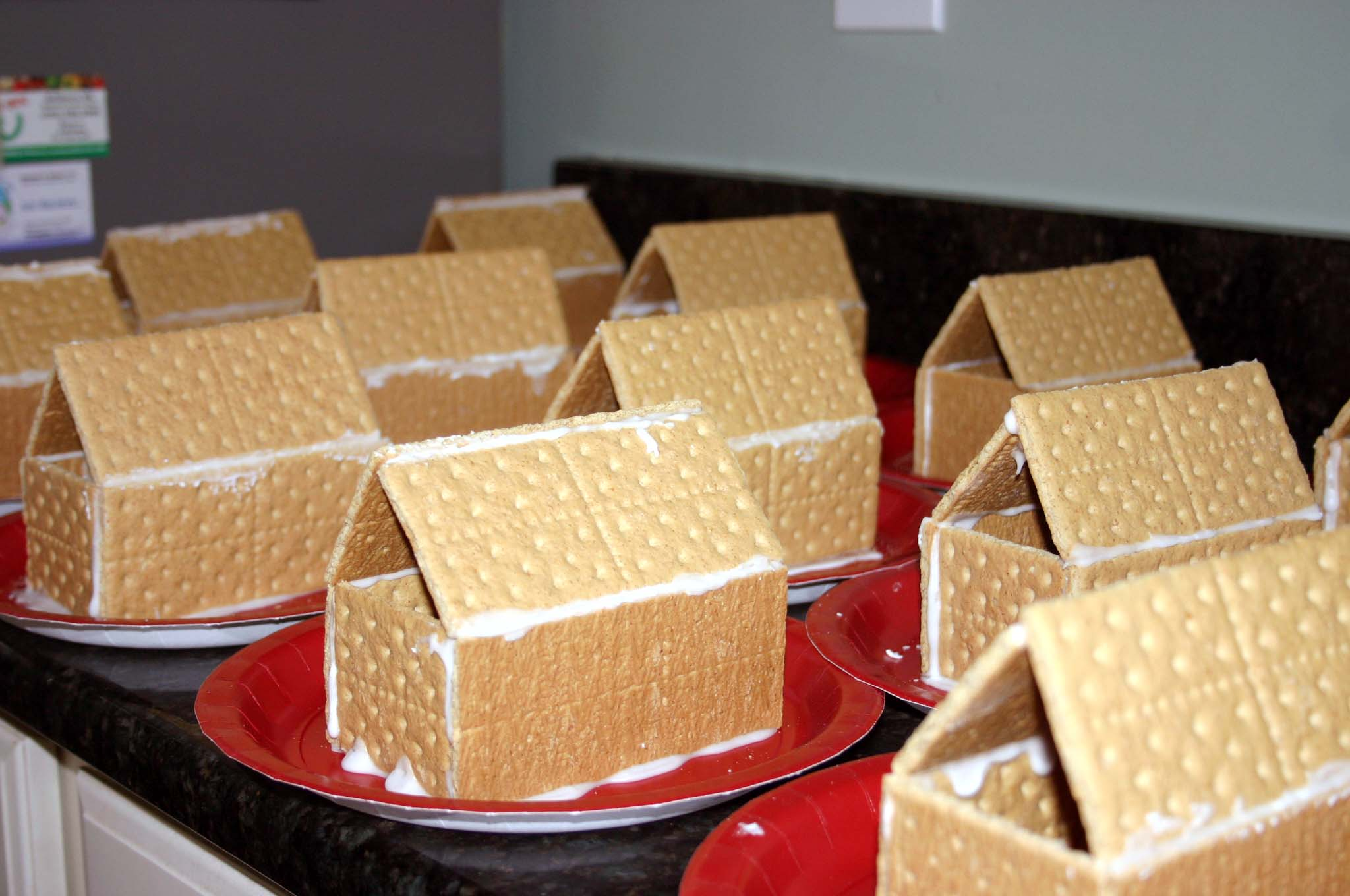 Gingerbread Houses At Christmas Classroom Party