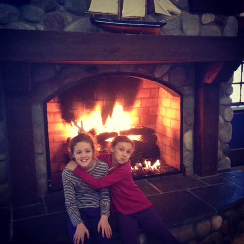 Acting silly by the fire
