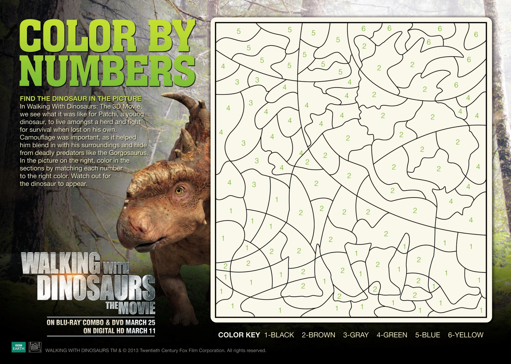 walking with dinosaurs color by number