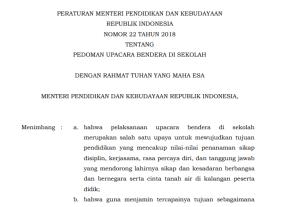 Download Permendikbud Nomor 22 Tahun 2018 tentang Pedoman Upacara Bendera di Sekolah