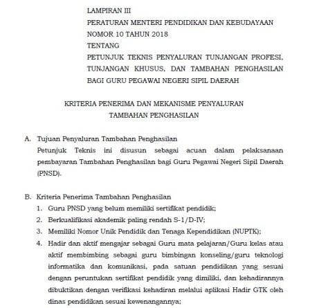 Permendikbud Nomor 10 Tahun 2018 : Kriteria Penerima dan Penyaluran Tambahan Penghasilan