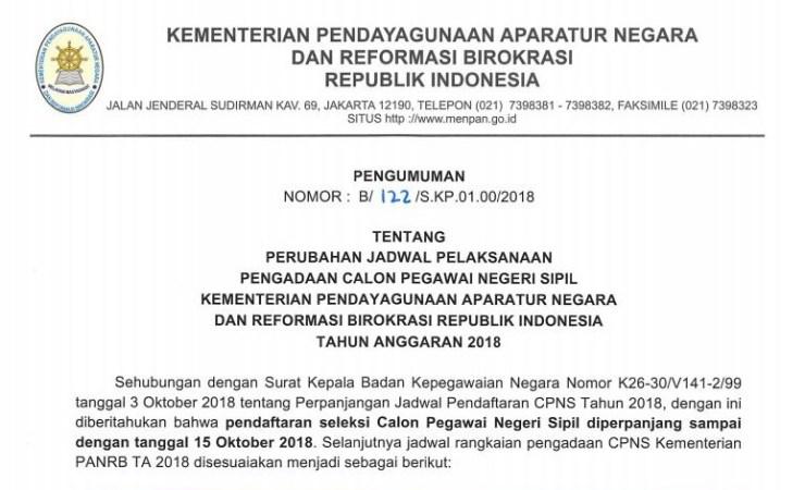 Kemenpan RB Umumkan Perubahan Jadwal Pelaksanaan Seleksi CPNS 2018