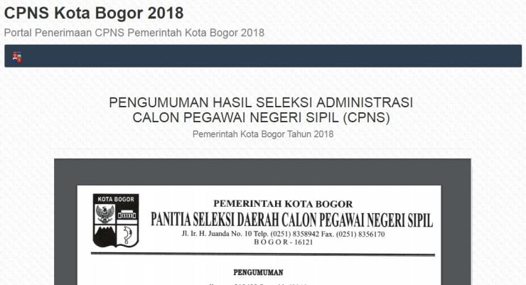 Jadwal dan Lokasi Tes Kompetensi Dasar CPNS Kota Bogor Tahun 2018