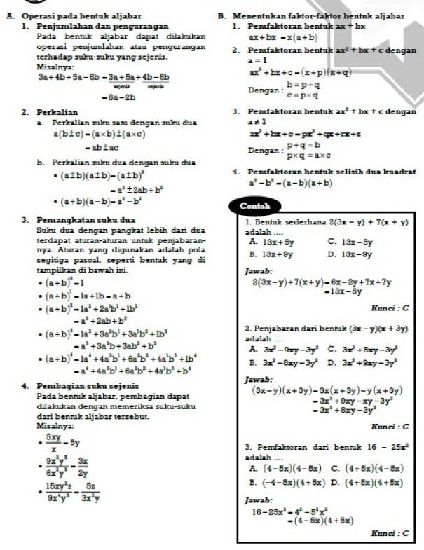 Contoh Soal Ujian Nasional 2019 Matematika SMP/MTs Materi Bentuk Aljabar