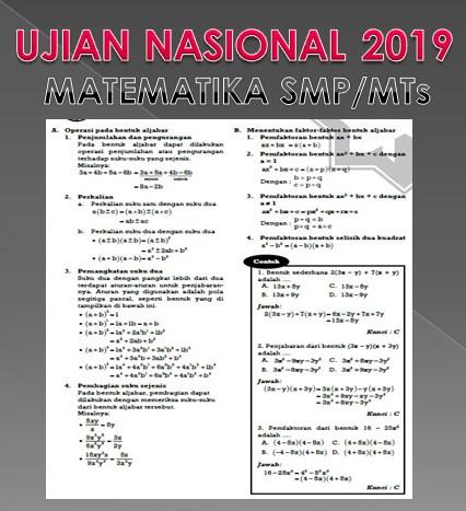 Kumpulan Soal UN Matematika SMP/Mts Persiapan Ujian Nasional 2019