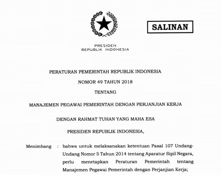 Download PP Nomor 49 Tahun 2018 tentang Manajemen PPPK