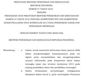 Permendikbud Nomor 37 Tahun 2018, Informatika Resmi Mapel Baru K13