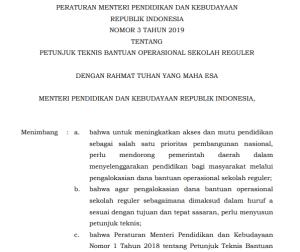 Download Permendikbud Nomor 3 Tahun 2019 Tentang Juknis Dana BOS