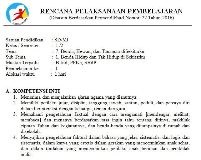 Download RPP Kelas 1 SD Kurikulum 2013 Edisi Revisi 2018 Tema 7