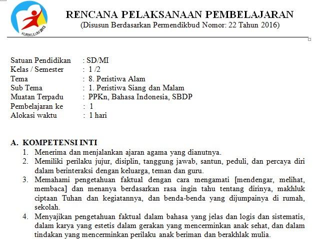 Download RPP Kelas 1 SD Kurikulum 2013 Edisi Revisi 2018 Tema 8