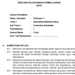Download RPP Kelas 6 SD Kurikulum 2013 Edisi Revisi 2018 Semester 1