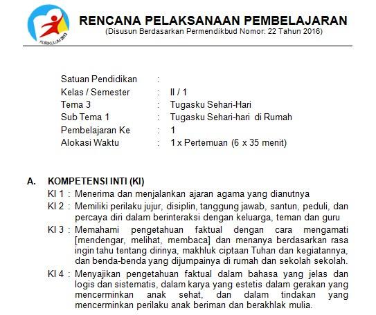 Download Rpp Kelas 2 Sd Kurikulum 2013 Edisi Revisi 2018 Tema 3