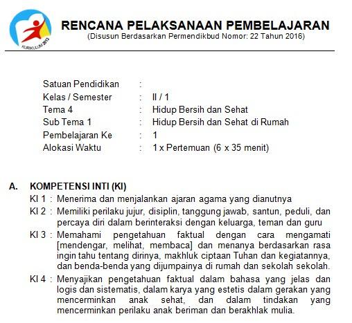 Download RPP Kelas 2 SD Kurikulum 2013 Edisi Revisi 2018 Tema 4