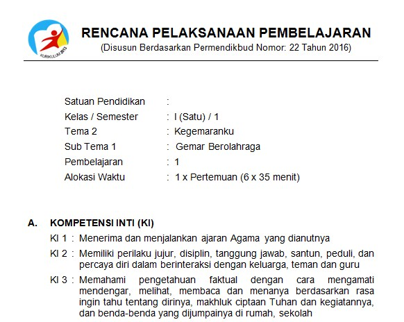 Download Rpp Kelas 1 Sd Kurikulum 2013 Edisi Revisi 2018 Tema 2