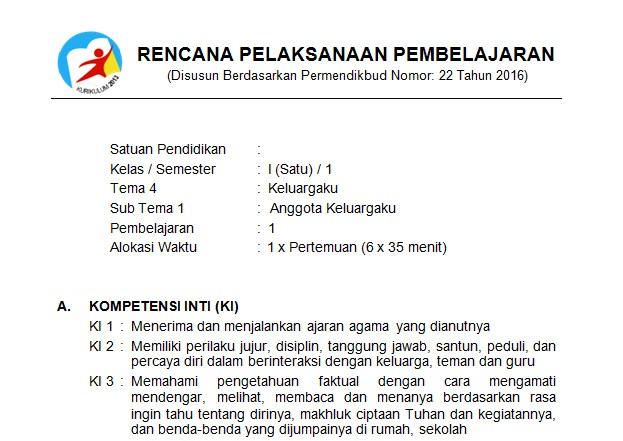 Download RPP Kelas 1 SD Kurikulum 2013 Edisi Revisi 2018 Tema 4