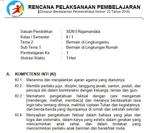 Download Rpp Kelas 2 Sd Kurikulum 2013 Edisi Revisi 2018 Tema 2