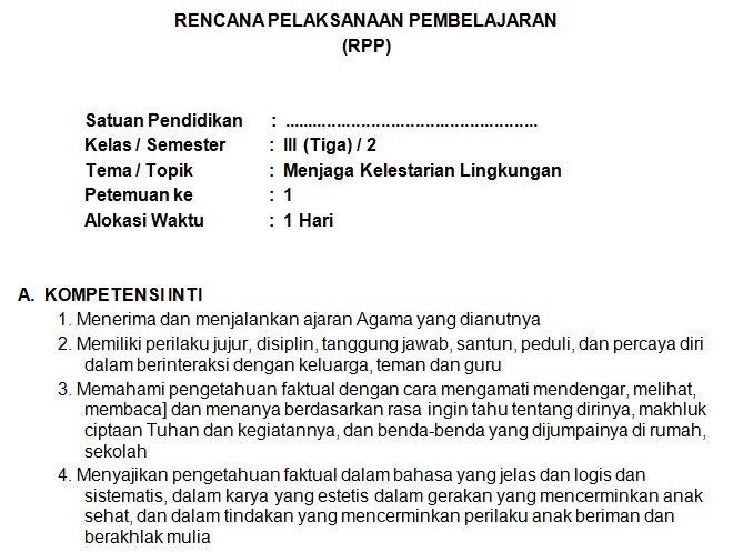 Download RPP Kelas 3 SD Kurikulum 2013 Edisi Revisi 2018 Tema 9