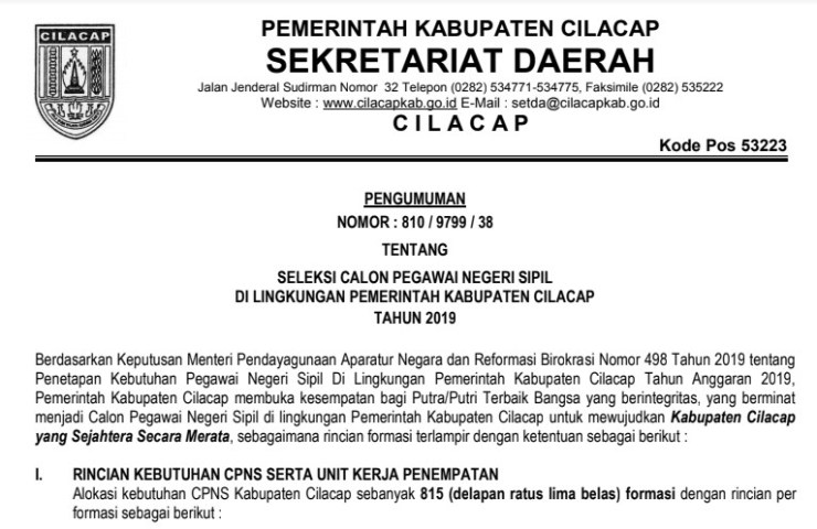 Rincian Formasi Seleksi CPNS Tahun 2019 Kabupaten Cilacap