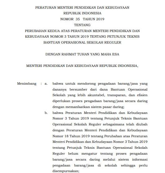 Permendikbud Nomor 35 Tahun 2019 tentang Juknis BOS