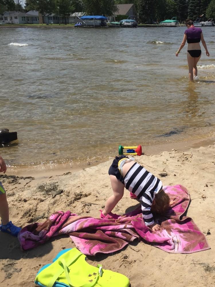 A little beach yoga.