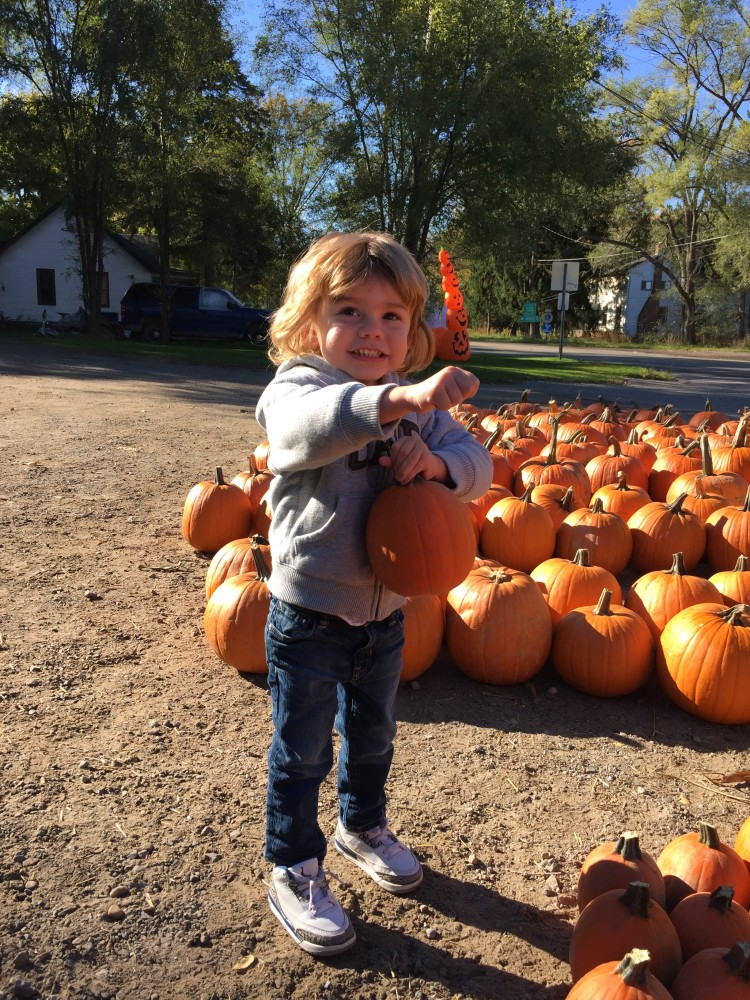 Picking out a baby pumpkin for his baby Emmy, last October.