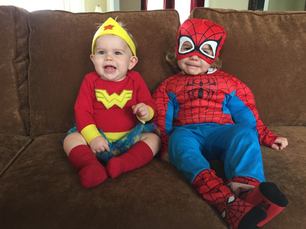Tiny Wonder Woman and Spidey before we left for trunk or treat last year, and before I put them in all of the layers.