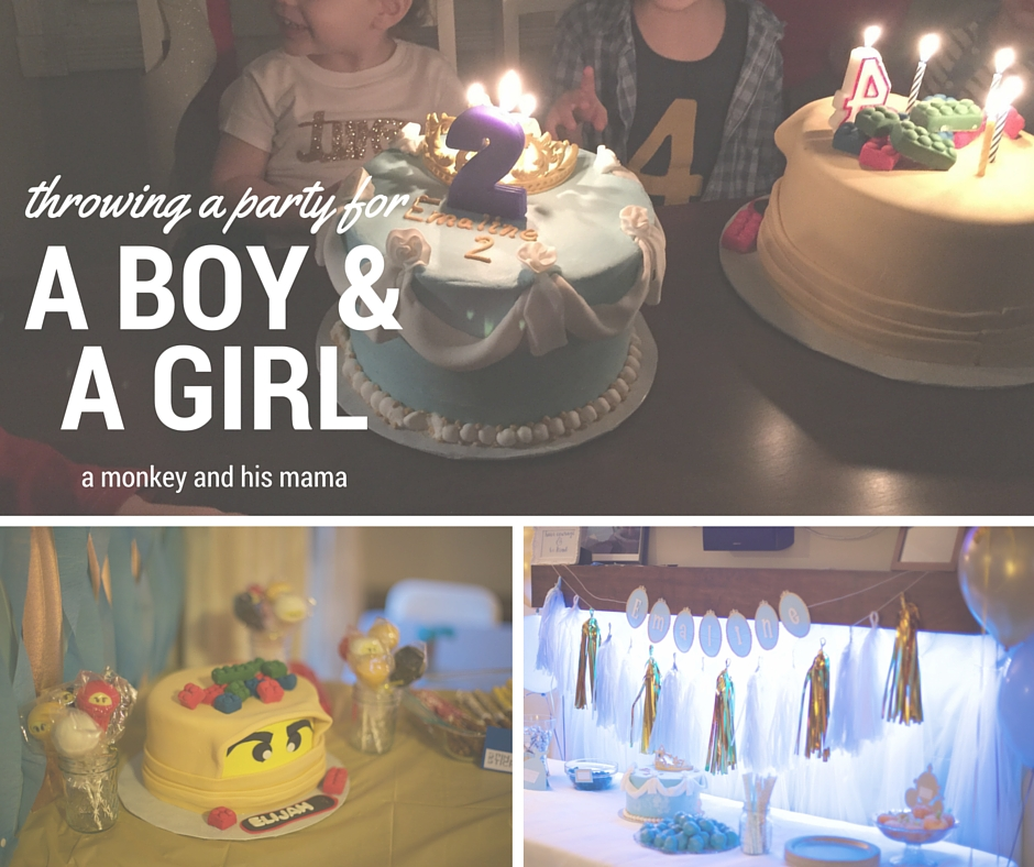 throwing a birthday party for a boy and a girl // a monkey and his mama