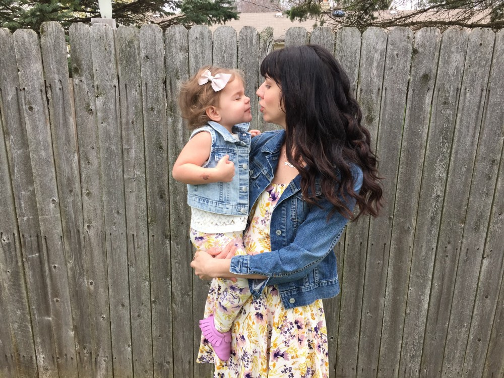 mama + mini spring style, feminine florals and denim // a monkey and his mama