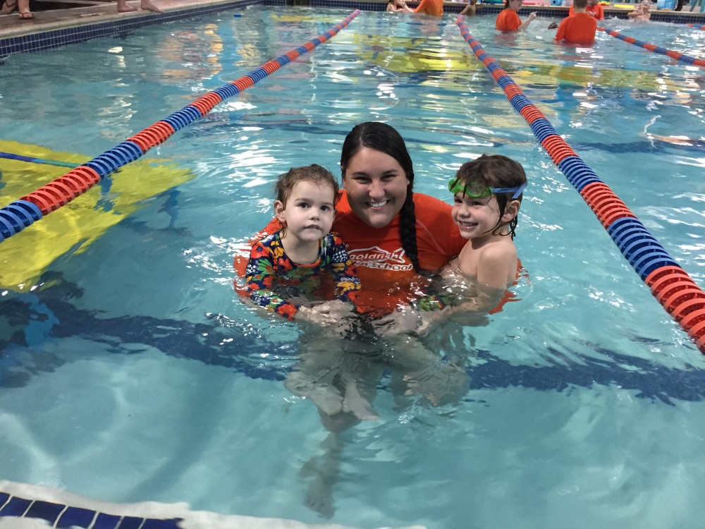 the best goldfish swim instructor // a monkey and his mama
