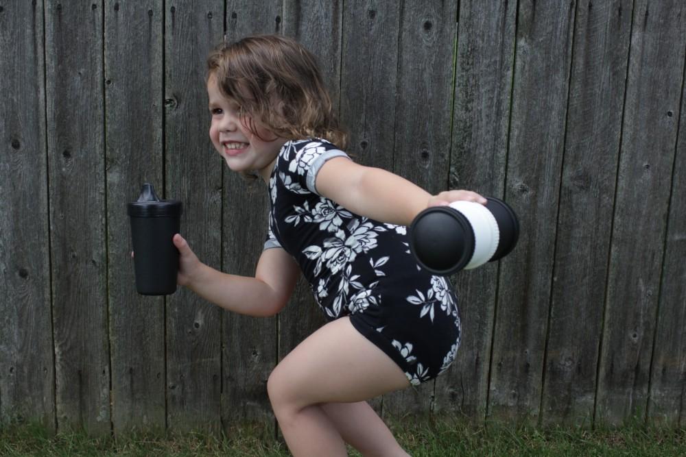black and white toddler leotard