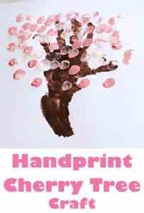 cherry blossom handprint tree - spring tree craft - amorecraftylife.com #craftsforkids #kidscrafts #preschool #spring