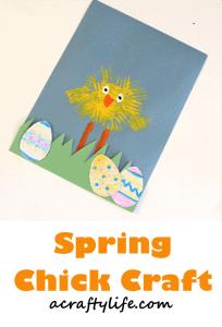 spring chick kid craft - easter craft - spring craft - crafts for kids- kid crafts - amorecraftylife.com #preschool