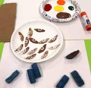 Sponge Painted Fall Tree Kid Craft -fall tree kid crafts - fall kid crafts- crafts for kids - morecraftylife.com