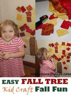 easy fall tree kid craft - fall kid craft -amorecraftylife.com #kidscraft #craftsforkids #preschool